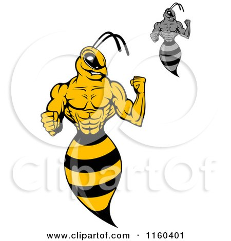 Clipart of Wasps Flexing - Royalty Free Vector Illustration by Vector Tradition SM