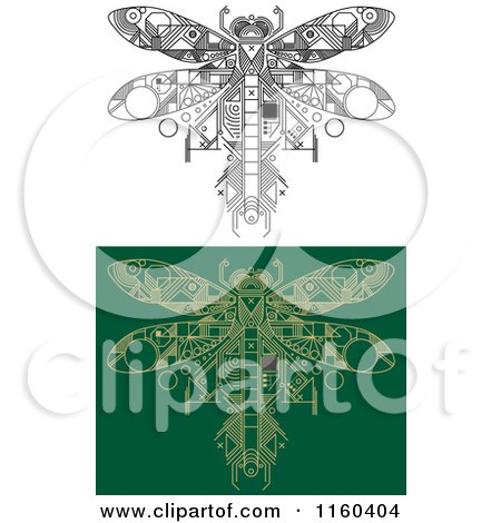 Clipart of Dragonfly Motherboard Computer Chips - Royalty Free Vector Illustration by Vector Tradition SM
