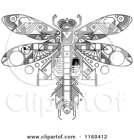 Clipart of a Black and White Dragonfly Motherboard Computer Chip - Royalty Free Vector Illustration by Vector Tradition SM