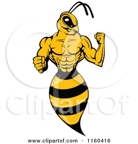 Clipart of a Wasp Flexing Its Arm - Royalty Free Vector Illustration by Vector Tradition SM