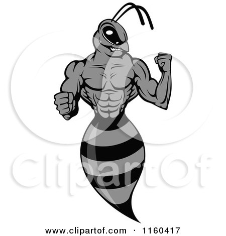 Clipart of a Grayscale Wasp Flexing Its Arm - Royalty Free Vector Illustration by Vector Tradition SM