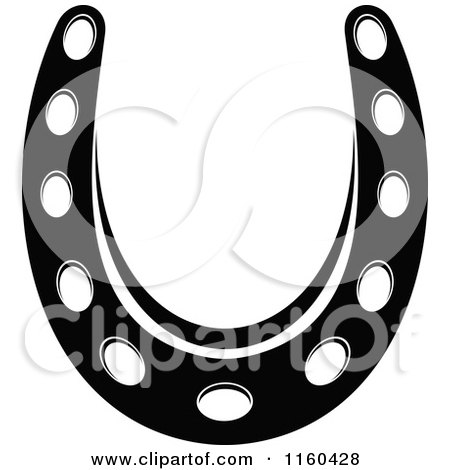 Clipart of a Black and White Horseshoe 10 - Royalty Free Vector Illustration by Vector Tradition SM