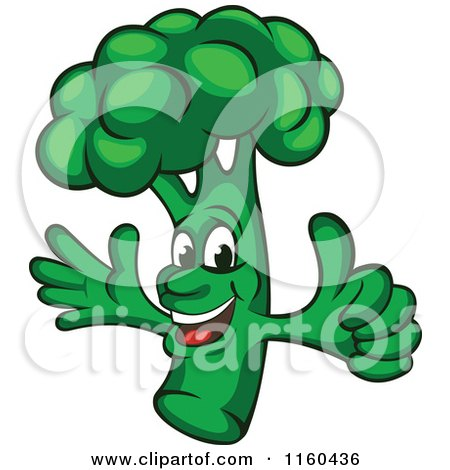 Clipart of a Happy Broccoli Mascot Holding a Thumb up - Royalty Free Vector Illustration by Vector Tradition SM