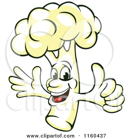Clipart of a Happy Cauliflower Mascot Holding a Thumb up - Royalty Free Vector Illustration by Vector Tradition SM