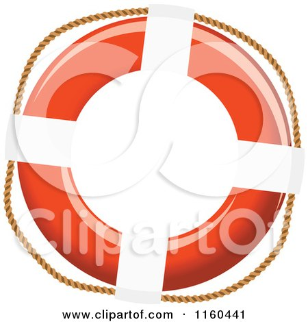 Clipart of a Life Buoy with a Rope 2 - Royalty Free Vector Illustration by Vector Tradition SM