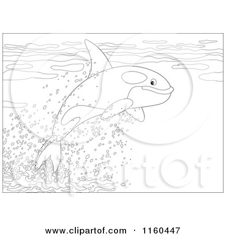Cartoon of an Outlined Cute Orca Whale Leaping out of Water - Royalty Free Vector Clipart by Alex Bannykh