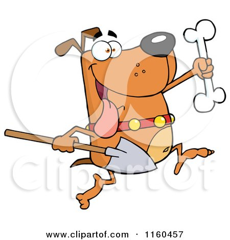 Cartoon of an Excited Dog Running with a Shovel to Bury a Bone - Royalty Free Vector Clipart by Hit Toon