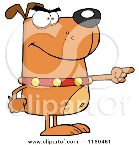 Cartoon of an Angry Brown Dog Standing and Pointing - Royalty Free Vector Clipart by Hit Toon