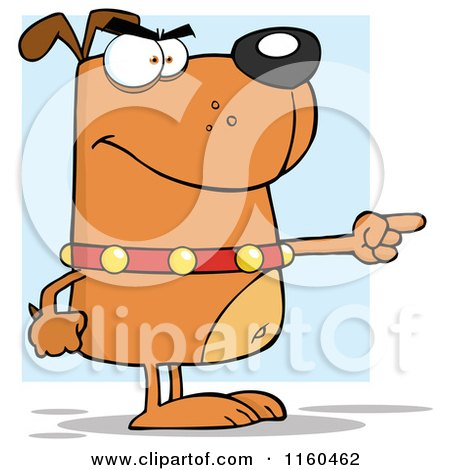 Cartoon of an Angry Brown Dog Standing and Pointing over Blue - Royalty Free Vector Clipart by Hit Toon
