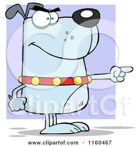 Cartoon of an Angry Blue Dog Standing and Pointing over Purple - Royalty Free Vector Clipart by Hit Toon
