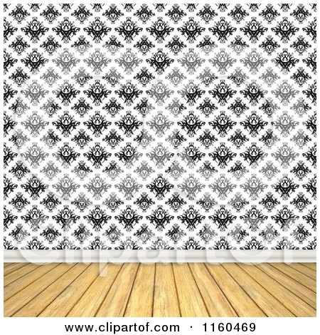 Clipart of a Room with Wooden Floors and Vintage Black and White Wallpaper - Royalty Free CGI Illustration by Arena Creative