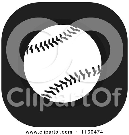 Clipart of a Black and White Baseball Icon - Royalty Free Vector Illustration by Johnny Sajem