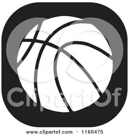 Clipart of a Black and White Basketball Icon - Royalty Free Vector Illustration by Johnny Sajem