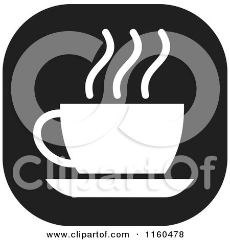 Clipart of a Black and White Coffee or Tea Icon - Royalty Free Vector Illustration by Johnny Sajem
