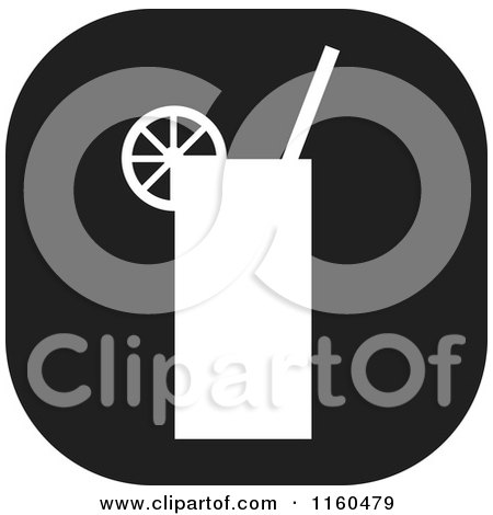 Clipart of a Black and White Beverage Icon - Royalty Free Vector Illustration by Johnny Sajem