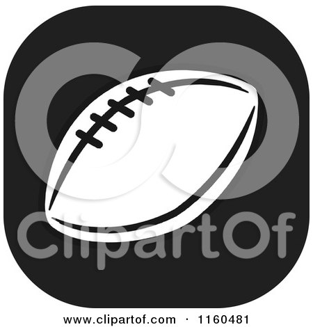 Clipart of a Black and White Football Icon - Royalty Free Vector Illustration by Johnny Sajem