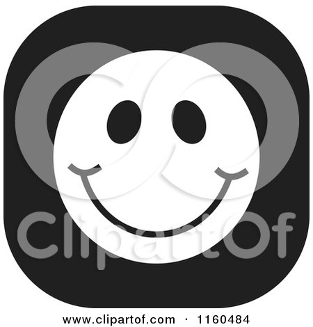 Cartoon of a Black and White Emoticon Smiley Icon - Royalty Free Vector Clipart by Johnny Sajem