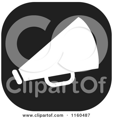 Clipart of a Black and White Megaphone Icon - Royalty Free Vector Illustration by Johnny Sajem