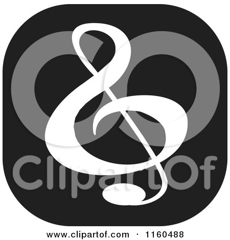 Clipart of a Black and White Music Icon - Royalty Free Vector Illustration by Johnny Sajem