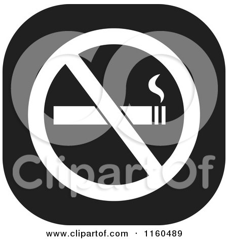 Clipart of a Black and White No Smoking Icon - Royalty Free Vector Illustration by Johnny Sajem