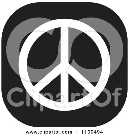 Clipart of a Black and White Peace Symbol Icon - Royalty Free Vector Illustration by Johnny Sajem