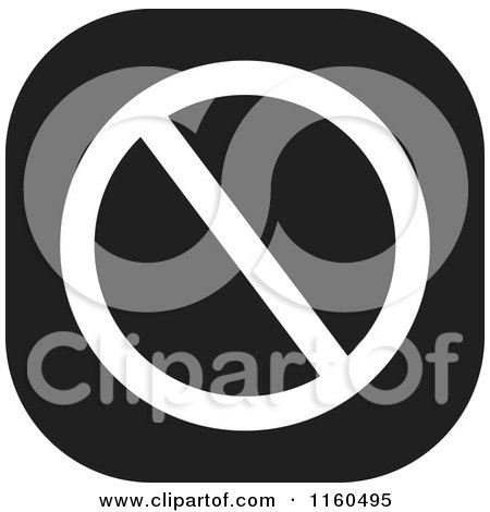 Clipart of a Black and White Prohibited Icon - Royalty Free Vector Illustration by Johnny Sajem