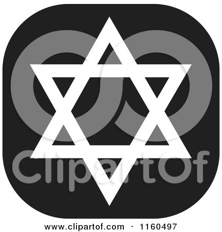 Clipart of a Black and White Star of David Icon - Royalty Free Vector Illustration by Johnny Sajem