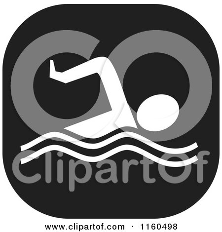 Clipart of a Black and White Swim Icon - Royalty Free Vector Illustration by Johnny Sajem