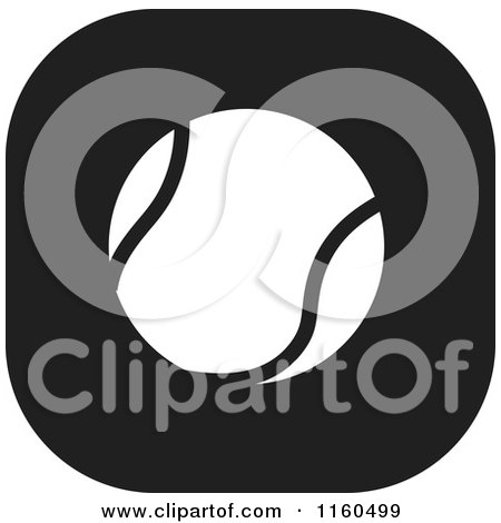 Clipart of a Black and White Tennis Ball Icon - Royalty Free Vector Illustration by Johnny Sajem