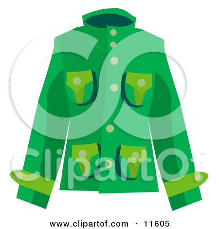 Woman's Green Coat Clipart Picture by AtStockIllustration