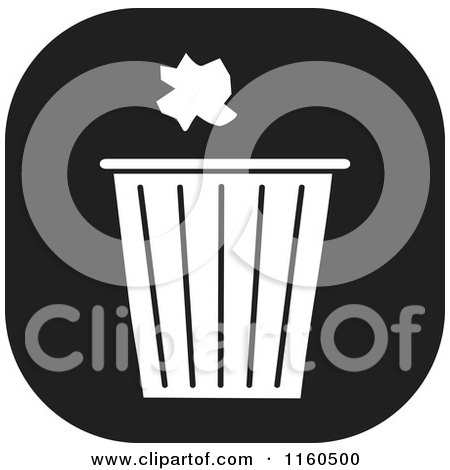 Clipart of a Black and White Trash Icon - Royalty Free Vector Illustration by Johnny Sajem
