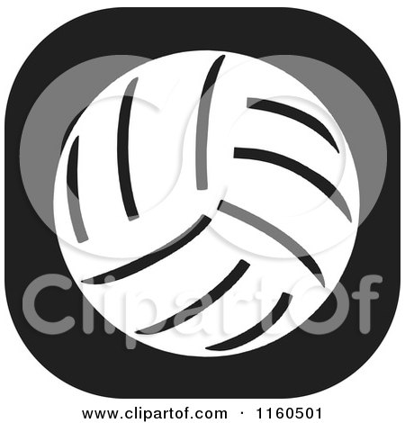 Clipart of a Black and White Volleyball Icon - Royalty Free Vector Illustration by Johnny Sajem