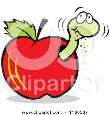 Cartoon of a Worm Eating Through a Red Apple - Royalty Free Vector Clipart by Johnny Sajem