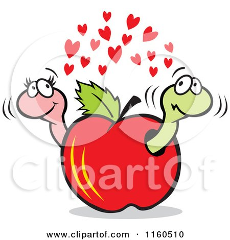 Cartoon of a Worm Couple in a Red Apple - Royalty Free Vector Clipart by Johnny Sajem