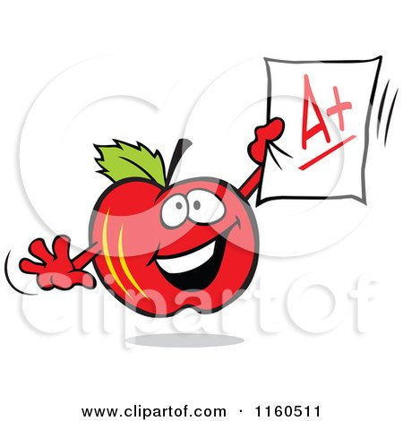 Cartoon of a Red Apple Mascot Holding up an a Plus Report - Royalty Free Vector Clipart by Johnny Sajem