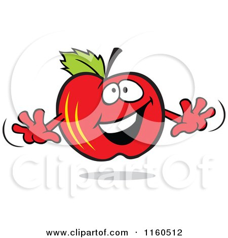 Cartoon of a Happy Red Apple Mascot - Royalty Free Vector Clipart by Johnny Sajem