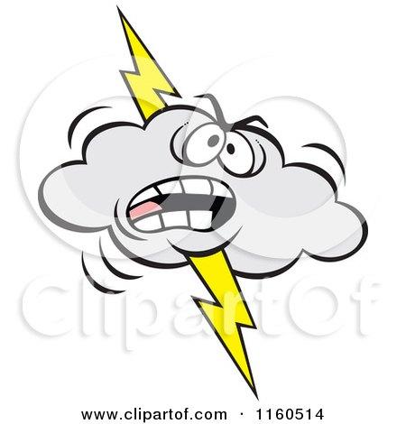 Cartoon Of An Angry Lightning Storm Cloud Mascot