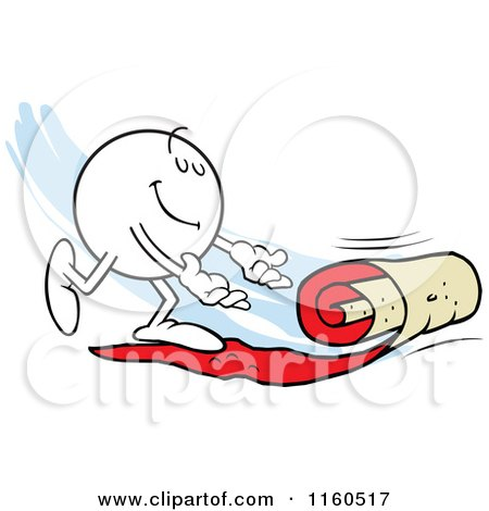 Cartoon of a Moodie Character Rolling out a Red Carpet - Royalty Free Vector Clipart by Johnny Sajem