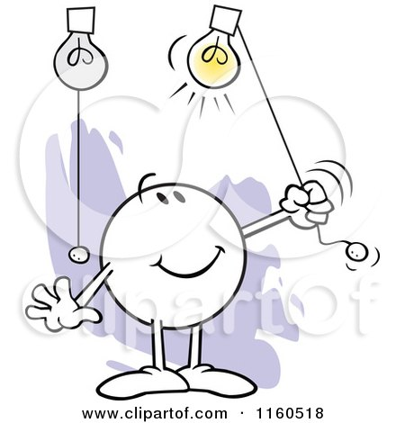 Cartoon of a Moodie Character Turning on Highlights - Royalty Free Vector Clipart by Johnny Sajem