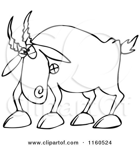 Cartoon of an Outlined Angry Goat - Royalty Free Vector Clipart by djart