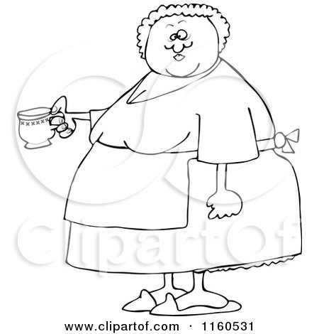 Cartoon of an Outlined Chubby Lady Wearing an Apron and Holding a Tea Cup - Royalty Free Vector Clipart by djart