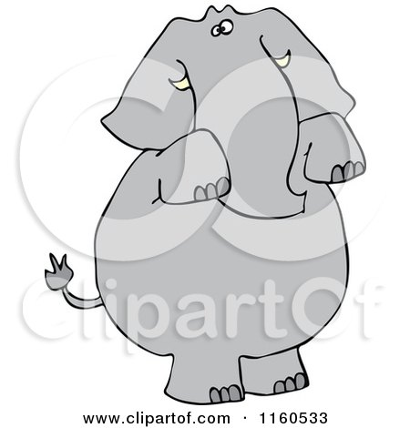 Cartoon of an Elephant Standing and Begging - Royalty Free Vector Clipart by djart
