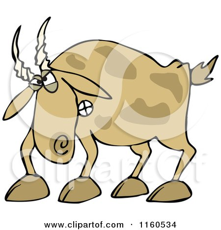 Cartoon of an Angry Brown Goat - Royalty Free Vector Clipart by djart