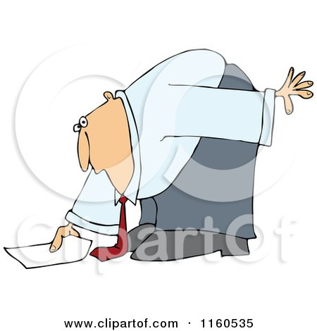 Cartoon of a Caucasian Businessman Bending over to Pick up a Piece of Paper - Royalty Free Vector Clipart by djart