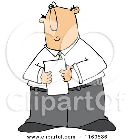 Cartoon of a Caucasian Businessman Reading a Memo - Royalty Free Vector Clipart by djart