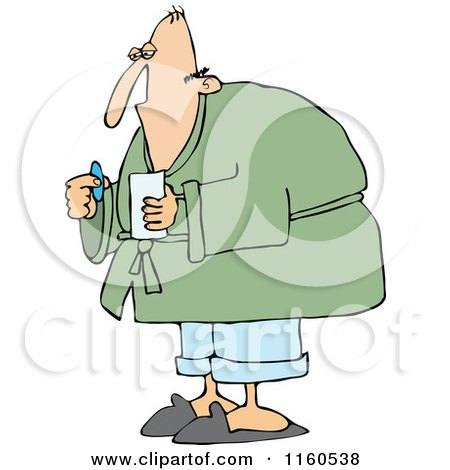 Cartoon of a Sick Man Taking a Pill - Royalty Free Vector Clipart by djart