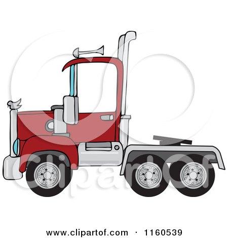 Cartoon of a Red Big Rig Semi Truck Cab - Royalty Free Vector Clipart by djart