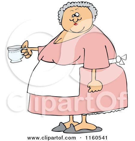 Cartoon of a Chubby Lady Wearing an Apron and Holding a Tea Cup - Royalty Free Vector Clipart by djart