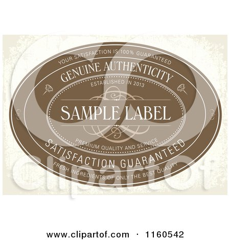 Clipart of a Vintage Distressed Brown Genuine Authenticity Label with Sample Text - Royalty Free Vector Illustration by BestVector