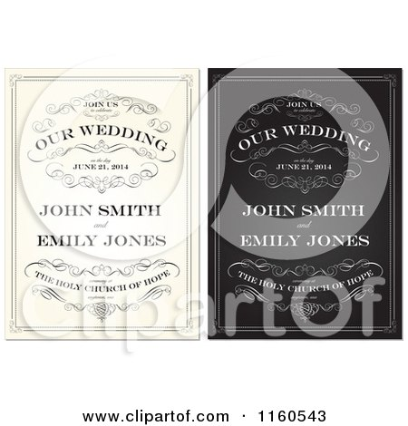 Clipart Of Beige And Black And White Vintage Wedding Invitations With Swirls And Sample Text